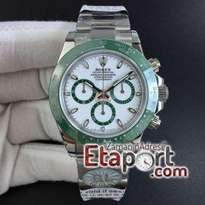 Rolex Daytona Yeşil Seramik Bezel 4130 Clone Eta Mekanizma Beyaz Kadran 904L Çelik