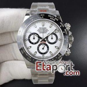 Rolex Daytona Noob 4130 Clone Mekanizma Beyaz Kadran 904L Çelik Kasa