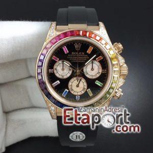 Rolex Daytona 116595RBOW RG Rainbow Crystal BLF 11 Best Edition Black Dial on Rubber Strap A4130