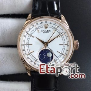 Rolex Cellini 50535 Moon RG RXW 11 Best Edition White Dial on Brown Leather Strap Super Clon (1)