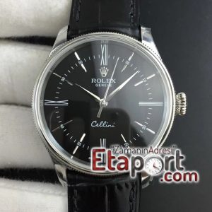 Rolex Cellini Time 50509 SS MKF Best Edition Black Dial Roman Marker on Black Leather Strap A3132 V4