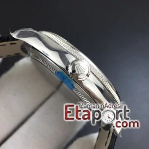 Rolex Cellini Time RG 3132 MKF Super Clone Eta Mekanizma Beyaz Kadran Deri Kordon