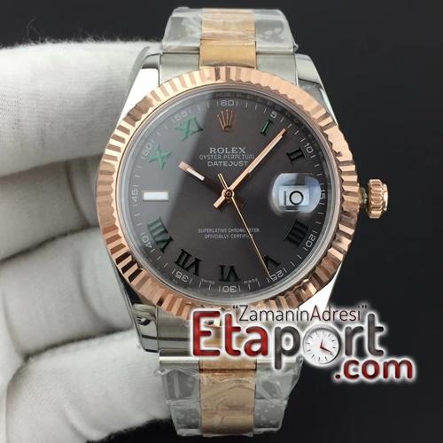 Rolex DateJust II 3235SH ETA SAAT 41mm GMF Best Edition RG Wrapped Roman Green Gray Dial on