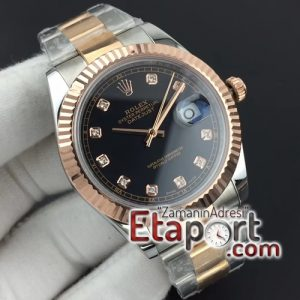 Rolex DateJust II 41mm GMF 11 Best Edition RG Wrapped Black Diamond Dial on SSYG Oyster Bracelet A3235