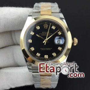 Rolex DateJust II 41mm noob 3235 eta mekanizma Best Edition YG Wrapped Black Diamond Dial on Oyster