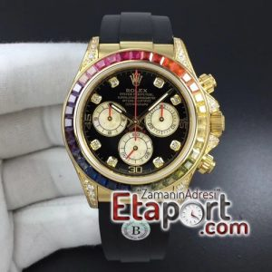 Rolex Daytona 116589RBOW YG Rainbow Crystal BLF Black Dial on Rubber Strap A4130