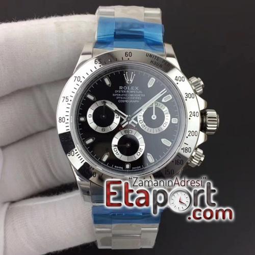 Rolex Daytona Super Clone Eta 4130 Noob 904L Çelik Kasa Siyah Kadran