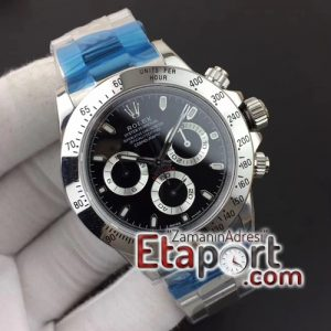 Rolex Daytona Eta saat silver noob 116520 Noob 11 Best Edition 904L SS Case and Bracelet Black Dial