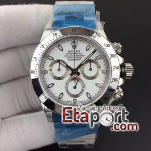 Rolex Daytona Super Clone Eta 4130 Noob 904L Çelik Kasa Beyaz Kadran