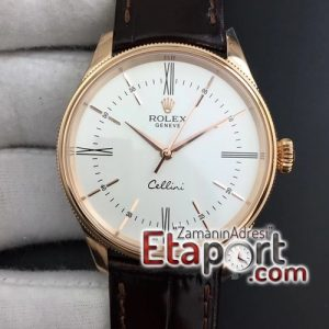 Rolex Repilika saat Cellini Time 50509 RG MKF Best Edition White Dial Roman