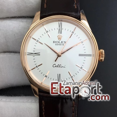 Rolex Repilika saat Cellini Time 50509 RG MKF Best Edition White Dial Roman