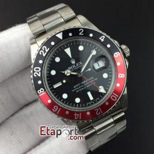 Clone Eta GMT-Master BlackRed Bezel BP Maker Black Dial on SS Bracelet A2836