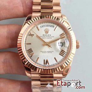 Rolex Day-Date 3255 Swiss Clone Eta 904L Çelik 40mm Kasa Roma Rakamlı Pembe Kadran