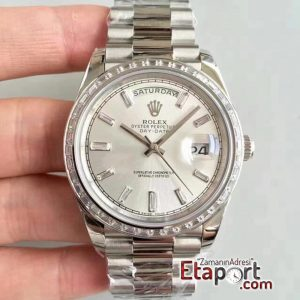 Rolex Day-Date 3255 Eta Swiss Clone Mekanizma 904L Çelik 40mm Kasa Çubuklu Gümüş Kadran