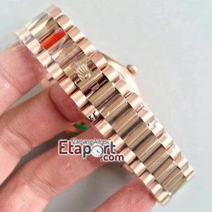 Rolex Day-Date Eta Swiss 3255 Clone Mekanizma 904L Çelik 40mm Kasa Çubuklu Pembe Kadran