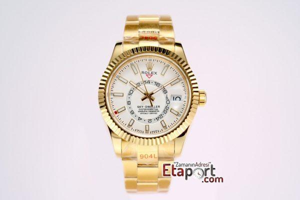 Rolex 9001 Super Clone Eta Mekanizma Sky-Dweller 316L Çelik Gold Kasa Ve Kordon Beyaz Kadran Ve Gold Bezel