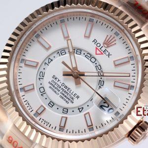 Rolex 9001 Super Clone Eta Mekanizma Sky-Dweller 316L Çelik Rose Kasa Ve Kordon Beyaz Kadran Ve Rose Bezel