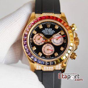 Rolex Daytona Taşlı Rainbow 4130 Super Clone Eta Mekanizma 316L Gold Çelik Kasa Taşlı Kadran Ve Bezel