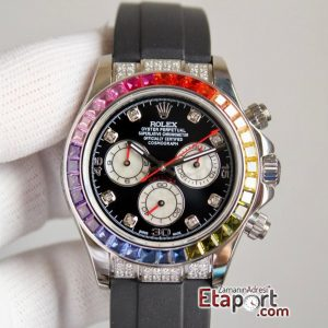 Rolex Daytona Taşlı Rainbow Super Clone 4130 Eta Mekanizma 316L Çelik Kasa Taşlı Kadran Ve Bezel