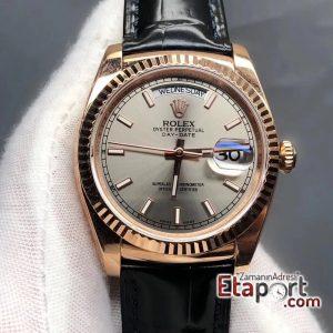 Rolex Gri Day-Date 2836 Swiss Eta Mekanizma 904L Çelik 36mm Kasa