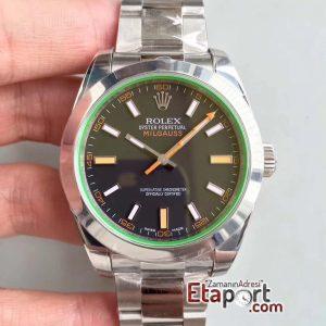 Rolex Milgauss 2824 ARF Yeşil Safir Cam Mavi Kadran