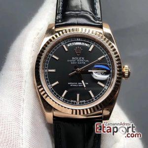 Rolex Siyah Day-Date 2836 Swiss Eta Mekanizma 904L Çelik 36mm Kasa