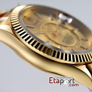Rolex Sky-Dweller 316L Çelik Kasa Ve Kordon 9001 Super Clone ETA Mekanizma Gold Kadran Ve Gold Bezel