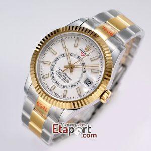Rolex Sky-Dweller 316L Çelik Kasa Ve Kordon 9001 Super Clone Eta Mekanizma Beyaz Kadran Ve Gold Bezel