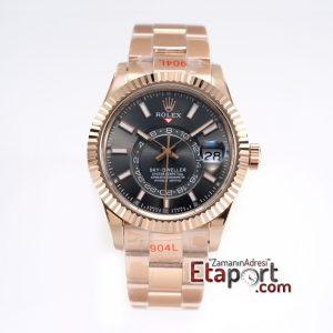 Rolex Sky-Dweller 316L Çelik Rose Kasa Ve Kordon 9001 Super Clone Eta Mekanizma Siyah Kadran Ve Rose Bezel