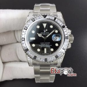 Rolex Submariner White Diamonds Bezel GSF 11 Black Dial on SS Super Clon (9)